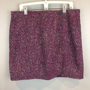 Loft Purple Tweed Lined Wrap Pencil Skirt SZ 14